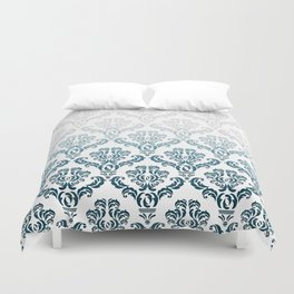 DAMASK GREY TO TEAL Duvet Cover
