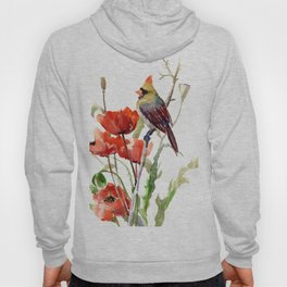 Cardinal Bird And Poppy Flowers Hoody