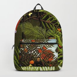 Exotic Jungle Landscape with Monkeys and Birds by Henri Rousseau Backpack