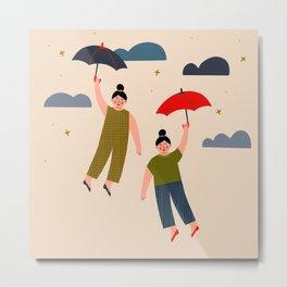 Girls flying with umbrellas Metal Print