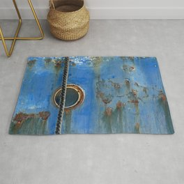 Blue Rusty, Grungy Ship Detail Rug