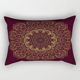 Gold Mandala on Royal Red Background Rectangular Pillow