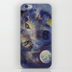 Grey Wolf Moon iPhone & iPod Skin