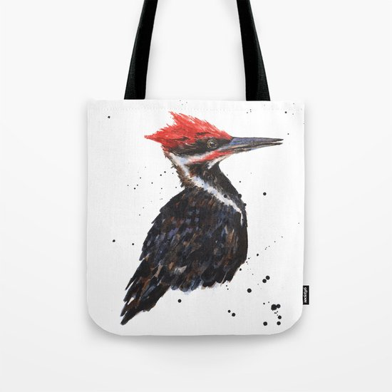 Woodpecker painting, bird paintings, bird lover gift, pileated woodpecker Tote Bag