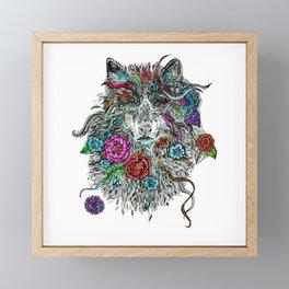 Floral Wolf. Framed Mini Art Print