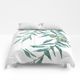 green olive leaf watercolor Comforters