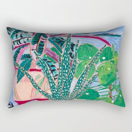 Houseplant collection Still Life on Blue Painting with Stromanthe Triostar, Pilea, and Snake Plant and Lion Vase Rectangular Pillow