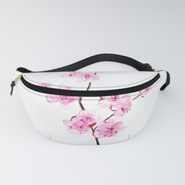 Pink cherry flowers painting, Floral Fanny Pack