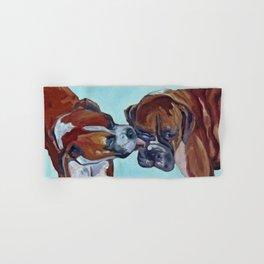 Kissing Boxers Dogs Portrait Hand & Bath Towel