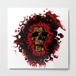 Darkness Skull Halftone Transparency Metal Print