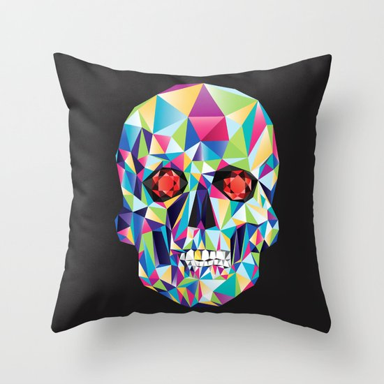Geometric Candy Skull Throw Pillow