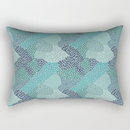 Brush Strokes Abstract Pattern, Blues & Teals on Gray Rectangular Pillow