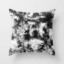 Black and White Tie Dye & Batik Throw Pillow