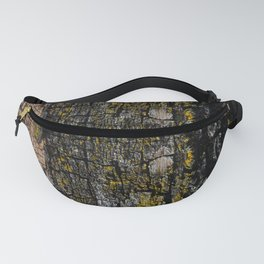 Cool Brown mossy wood bark yellow lichen pattern Fanny Pack