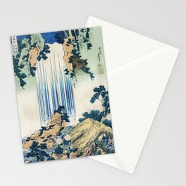 Yoro Waterfall in Mino Province by Katsushika Hokusai (1760-1849) a traditional Japanese Ukyio-e sty Stationery Cards