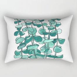 Eucalyptus Branch Watercolor Painting Rectangular Pillow