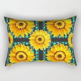 SOUTHWESTERN STYLE TURQUOISE SUNFLOWERS Rectangular Pillow
