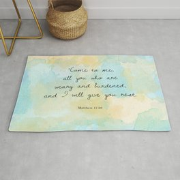 Come to me all you who are weary, Matthew 11:28 Rug