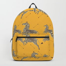 Royal Tenenbaums Zebra Wallpaper - Mustard Yellow Backpack