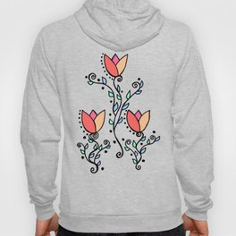 Three Tulips Doodle Art – Coral Pink Yellow Hoody