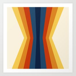 Bright 70's Retro Stripes Reflection Art Print