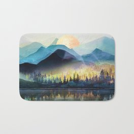 Mountain Lake Under Sunrise Bath Mat