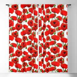 Red Poppy Pattern Blackout Curtain