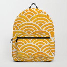 Japanese Seigaiha Wave – Marigold Palette Backpack