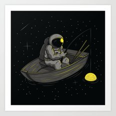 Lonely fishing Art Print