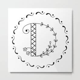 D - botanical monogram. Metal Print