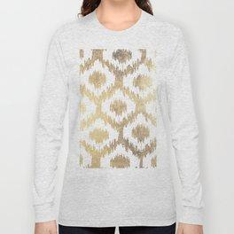 Modern white hand drawn ikat pattern faux gold Long Sleeve T-shirt