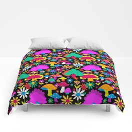 60's Funky Forest in Black Comforters