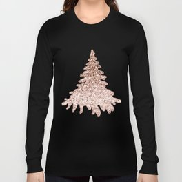Sparkling christmas tree rose gold ombre Long Sleeve T-shirt