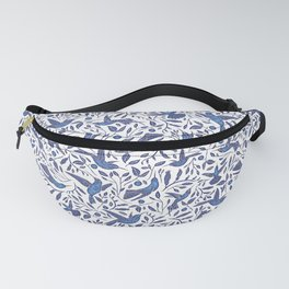Delft Blue Humming Birds & Leaves Pattern Fanny Pack