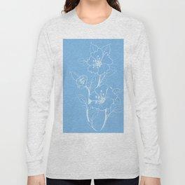 Blue Glass Floral Tile Long Sleeve T-shirt
