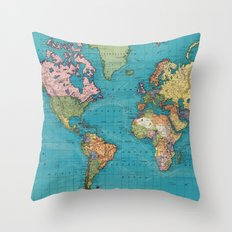 Vintage Map of The World (1897) Throw Pillow