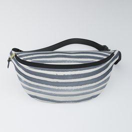 Simply Shibori Stripes Indigo Blue on Lunar Gray Fanny Pack