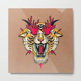Tiger 3 Eyes Flames Metal Print