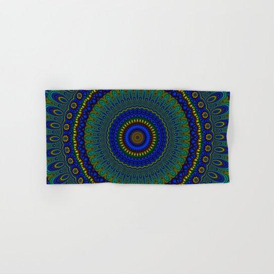 blue yellow mandala Hand & Bath Towel