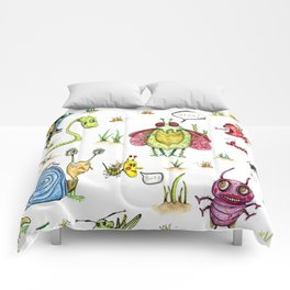 whimsical bug watercolor Comforters