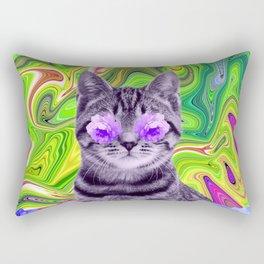 Flowers Cat Rectangular Pillow