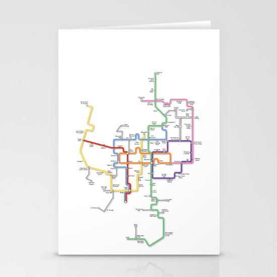 Minneapolis Skyway Map Stationery Cards