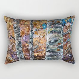 Birch Trees with Palette Knife by OLena Art for @society6 Rectangular Pillow