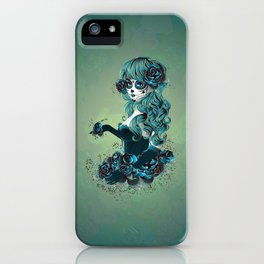 Sugar skull girl in blue iPhone Case