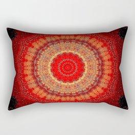 Vibrant Red Gold and black Mandala Rectangular Pillow