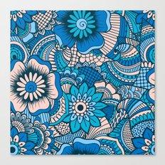 Blue Summer Boho Floral Pattern Canvas Print