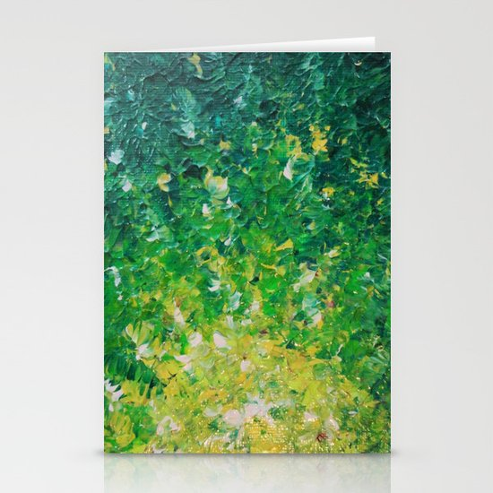 LAKE GRASS - Original Acrylic Abstract Painting Lake Seaweed Hunter Forest Kelly Green Water Lovely Stationery Cards