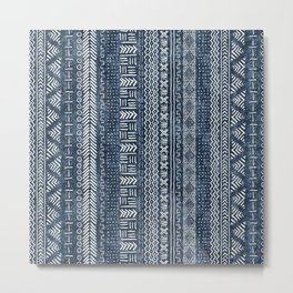 Mud Cloth Stripe Metal Print
