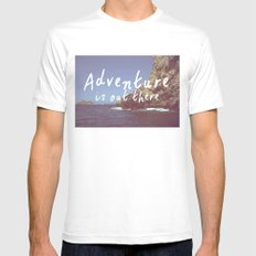 Adventure is out there MEDIUM White Mens Fitted Tee