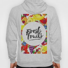 Fresh fruits. Background with juicy ripe fruit and berries , round composition, lettering. Hoody